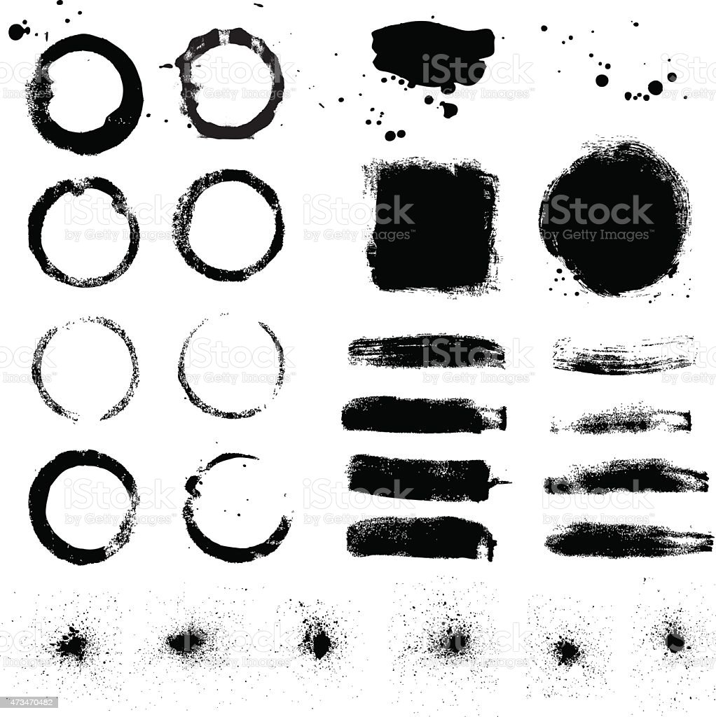 Grunge design elements set vector art illustration