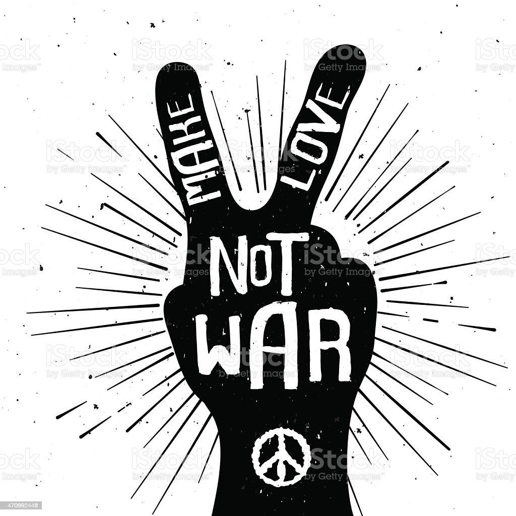 Grunge distressed peace sign silhouette Make Love Not War vector art illustration