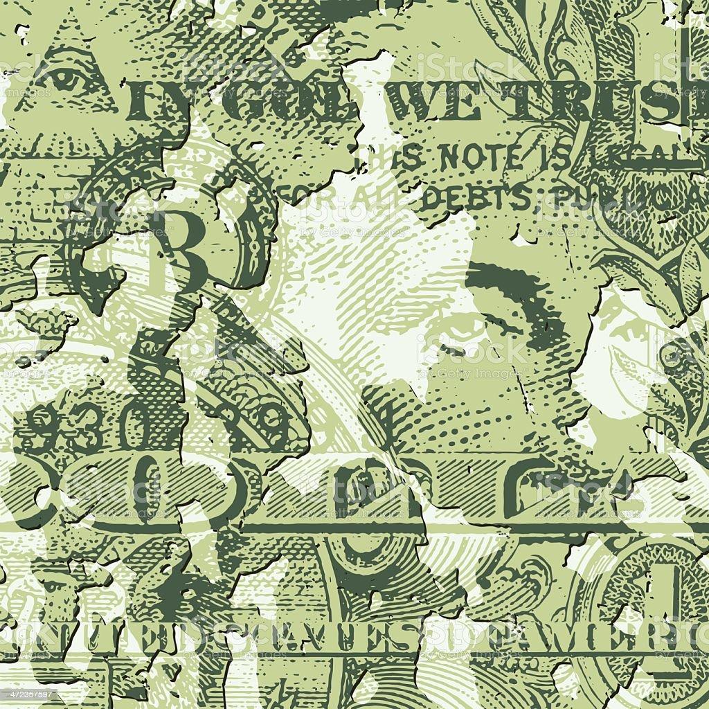 Grunge Dollar Bill royalty-free stock vector art