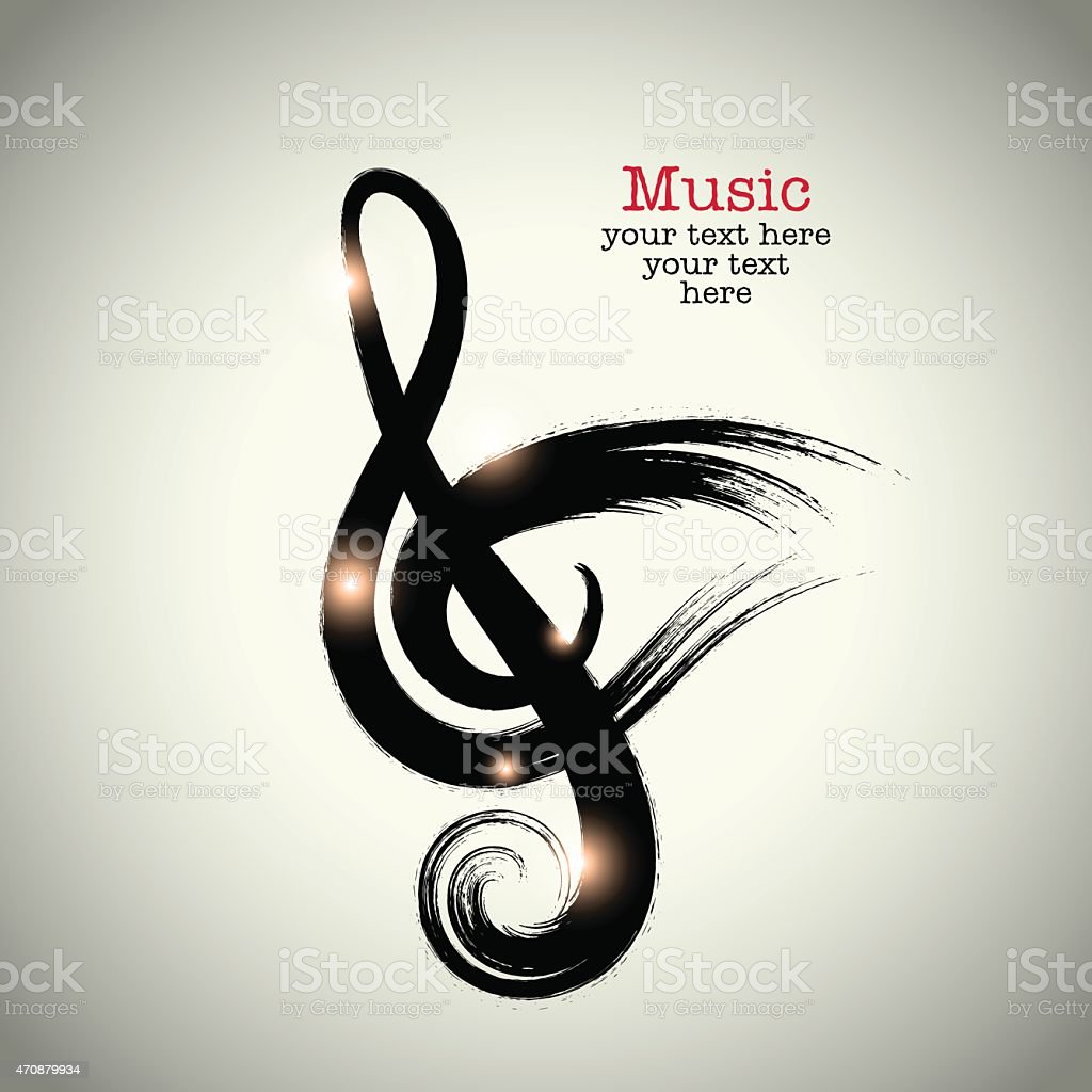Grunge drawing black clef with brushwork and bird shape vector art illustration