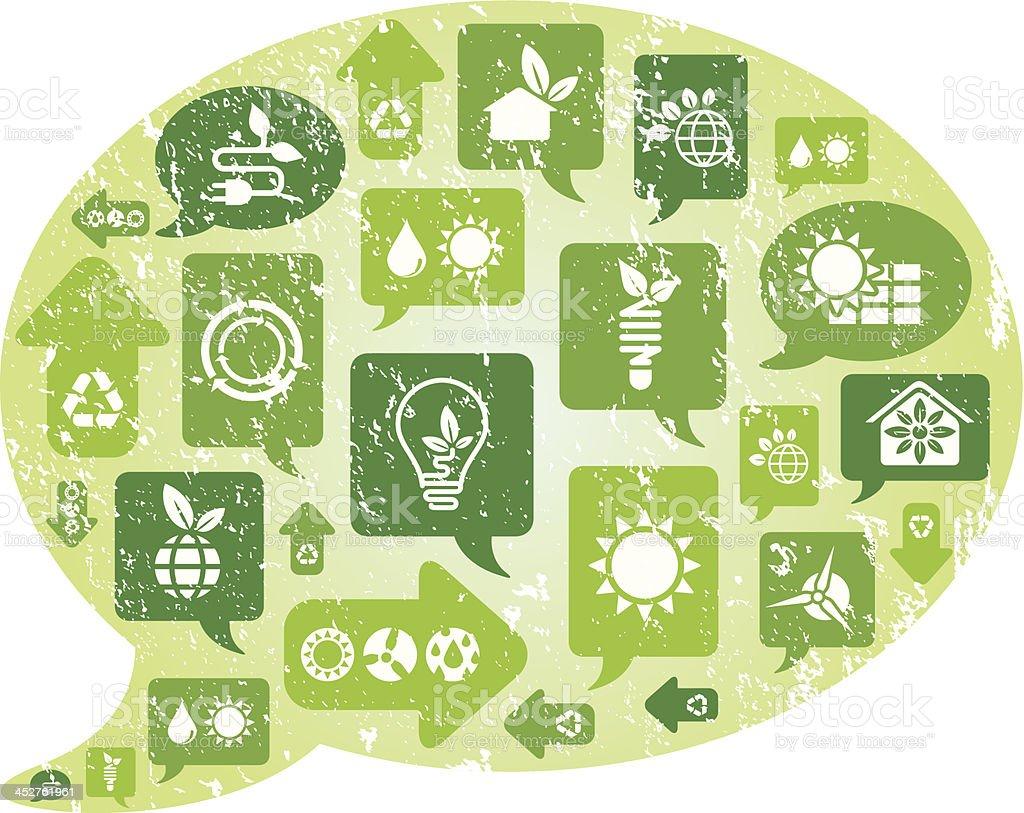 Grunge Eco Thought and green icons royalty-free stock vector art