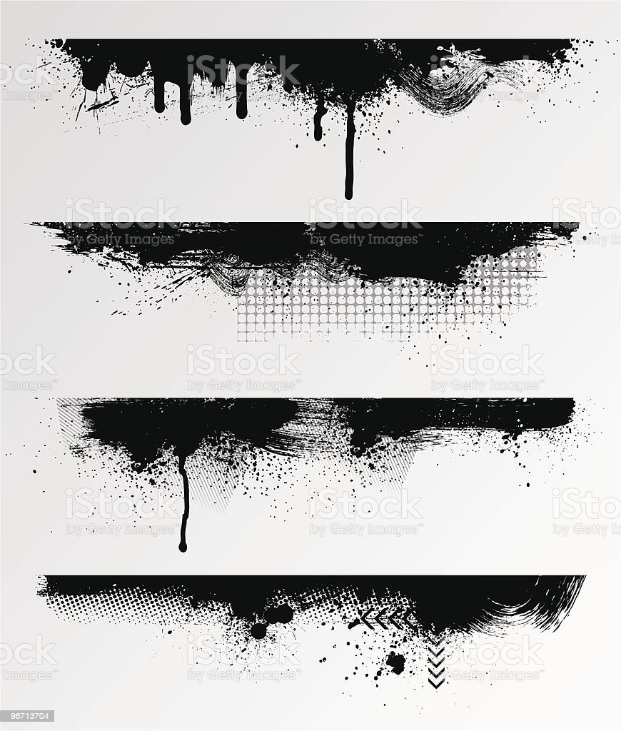 Grunge edges with black and white vector art illustration