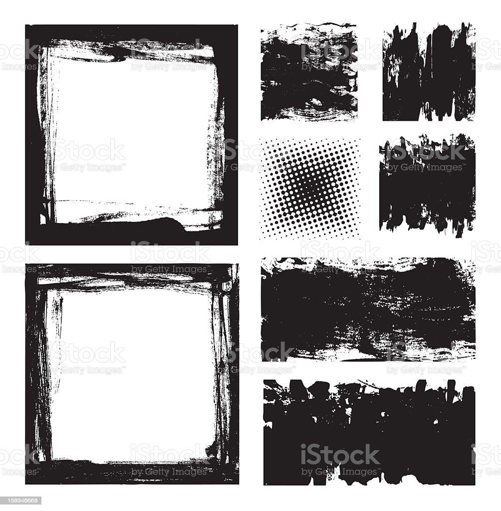 Grunge empty frames template set royalty-free stock vector art