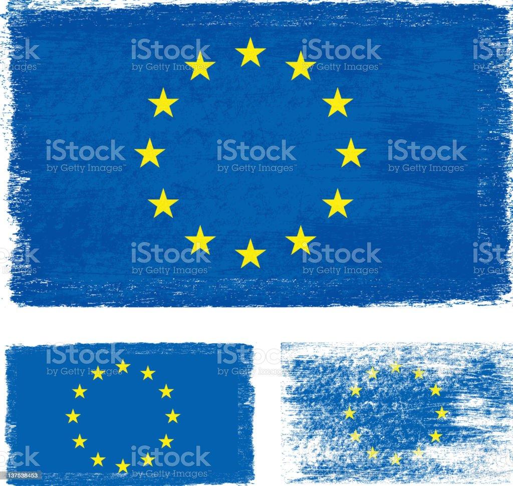 Grunge European Union flag royalty-free stock vector art