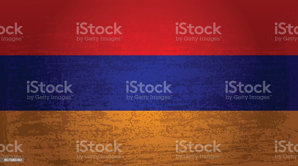 Grunge flag of Armenia vector art illustration