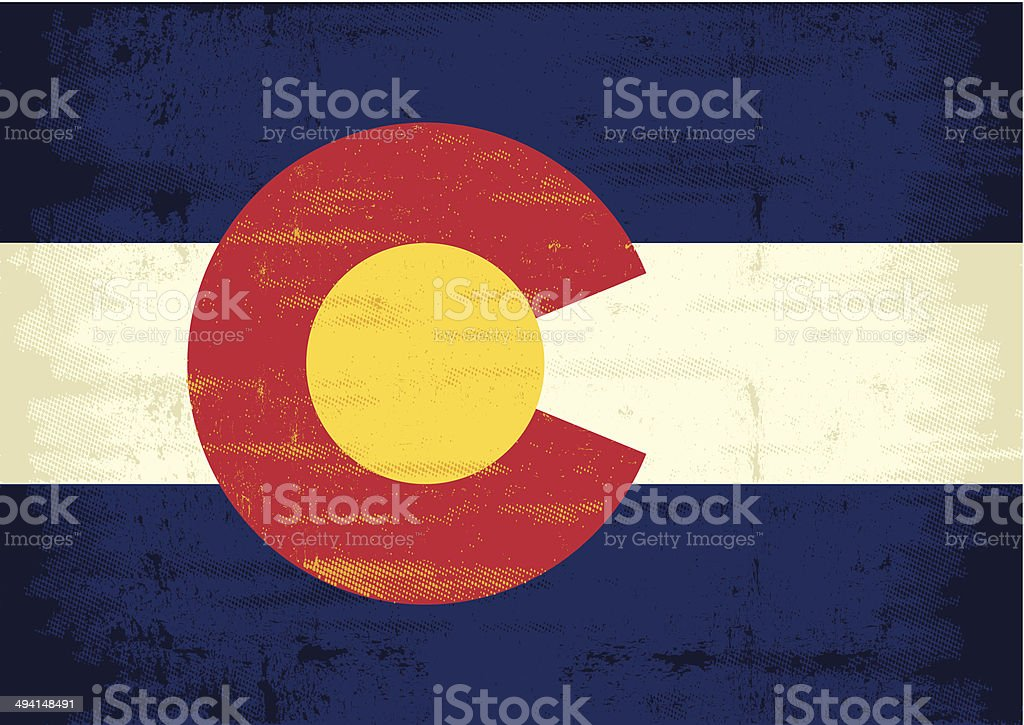 Grunge Flag of Colorado vector art illustration