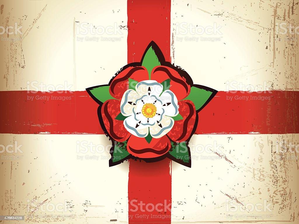 grunge flag of england with a tudor rose stock vector art