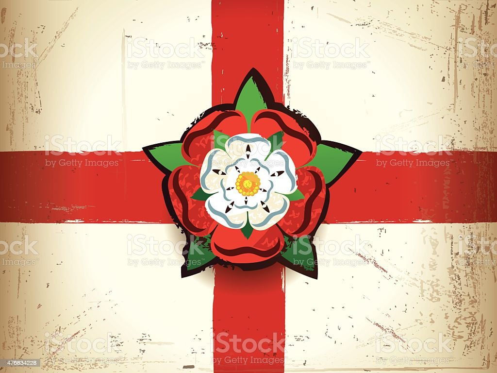 Grunge flag of England with a Tudor rose vector art illustration