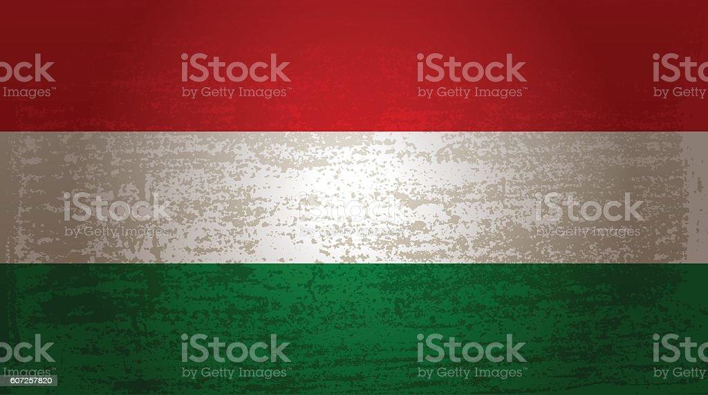 Grunge flag of Hungary vector art illustration