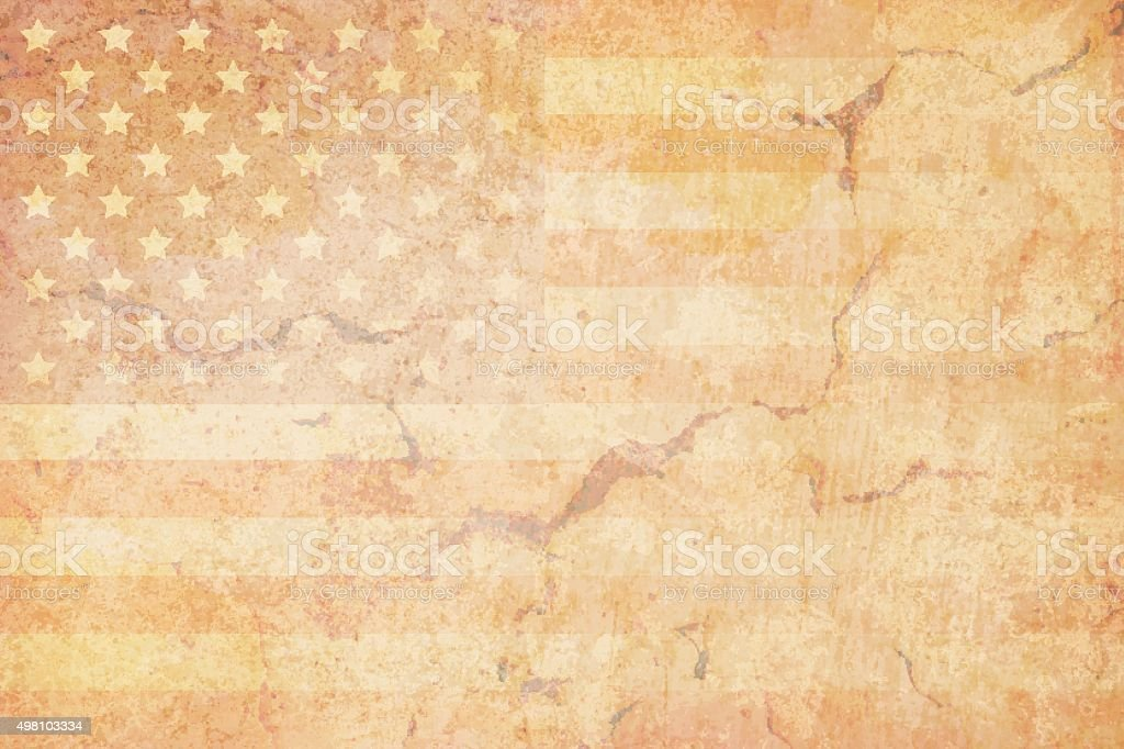 USA grunge flag on a grunge wall vector art illustration