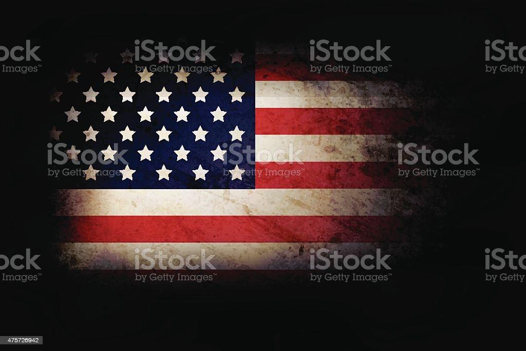 USA grunge flag over dark base vector art illustration