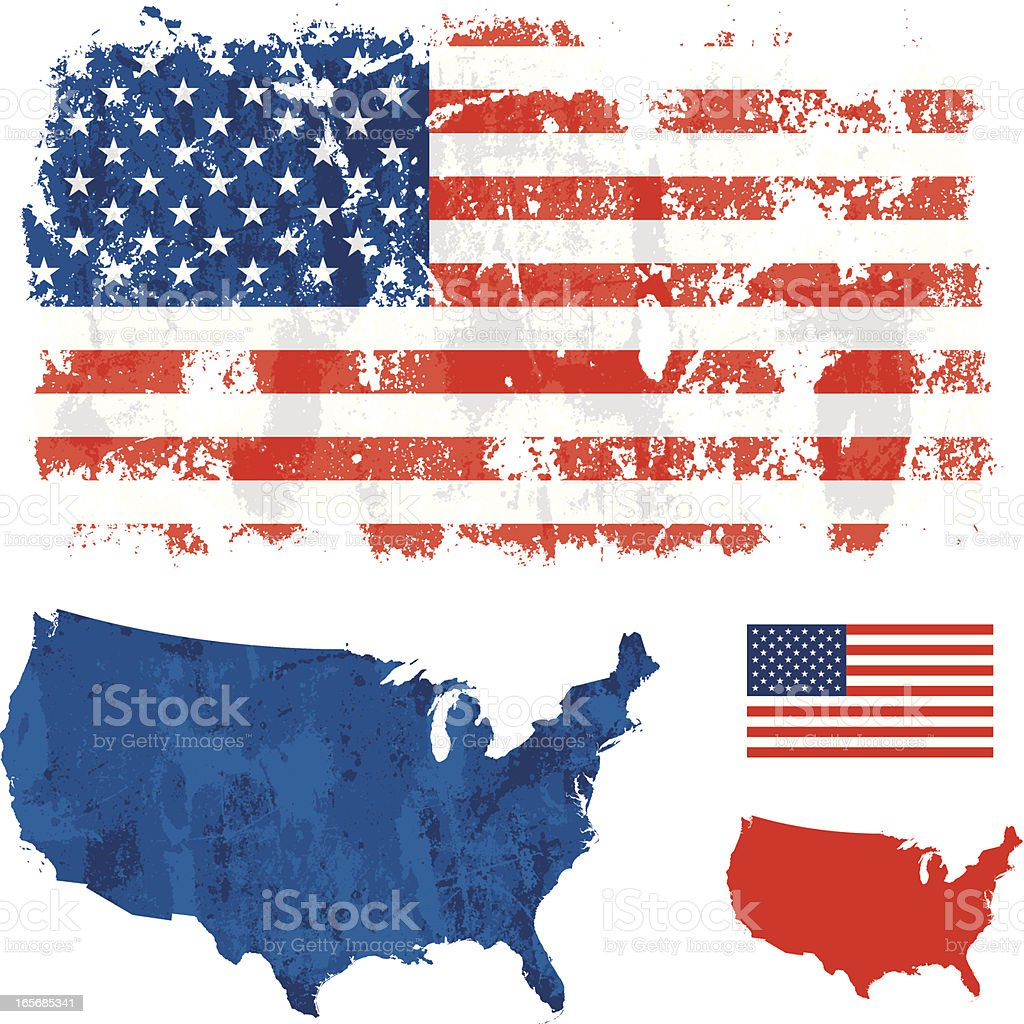 USA grunge flag vector art illustration