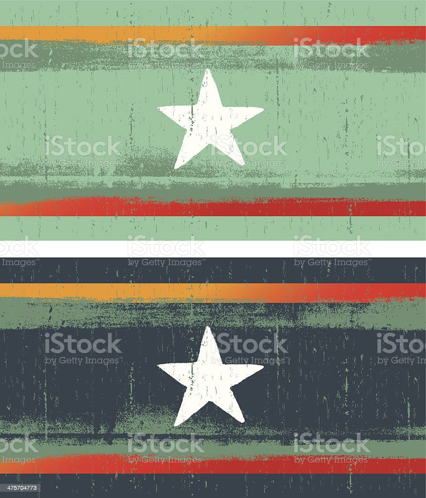 grunge flags with star vector art illustration