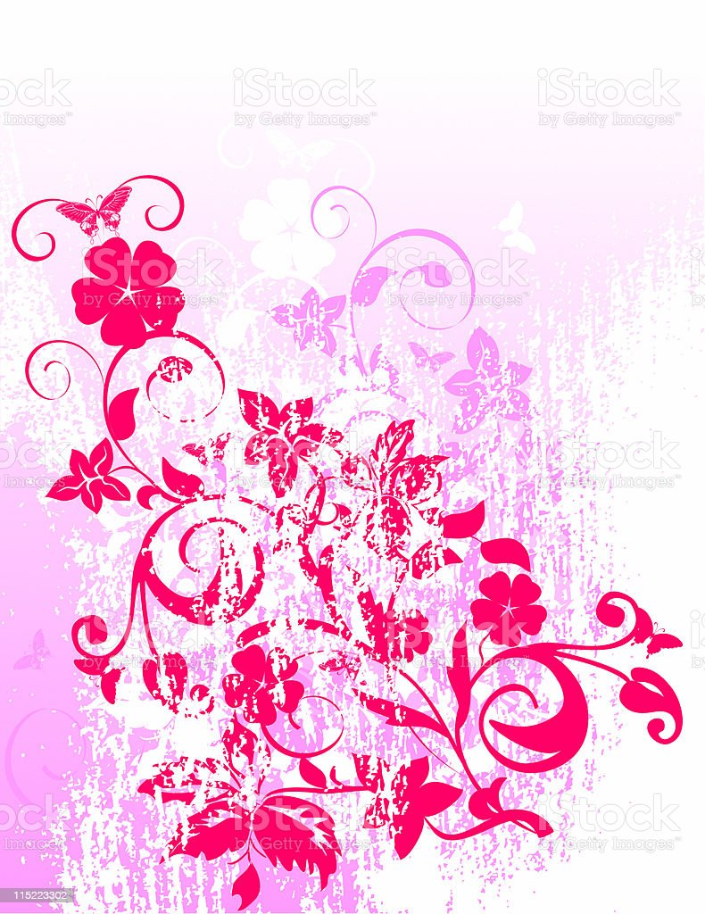 grunge floral background - vector royalty-free stock vector art