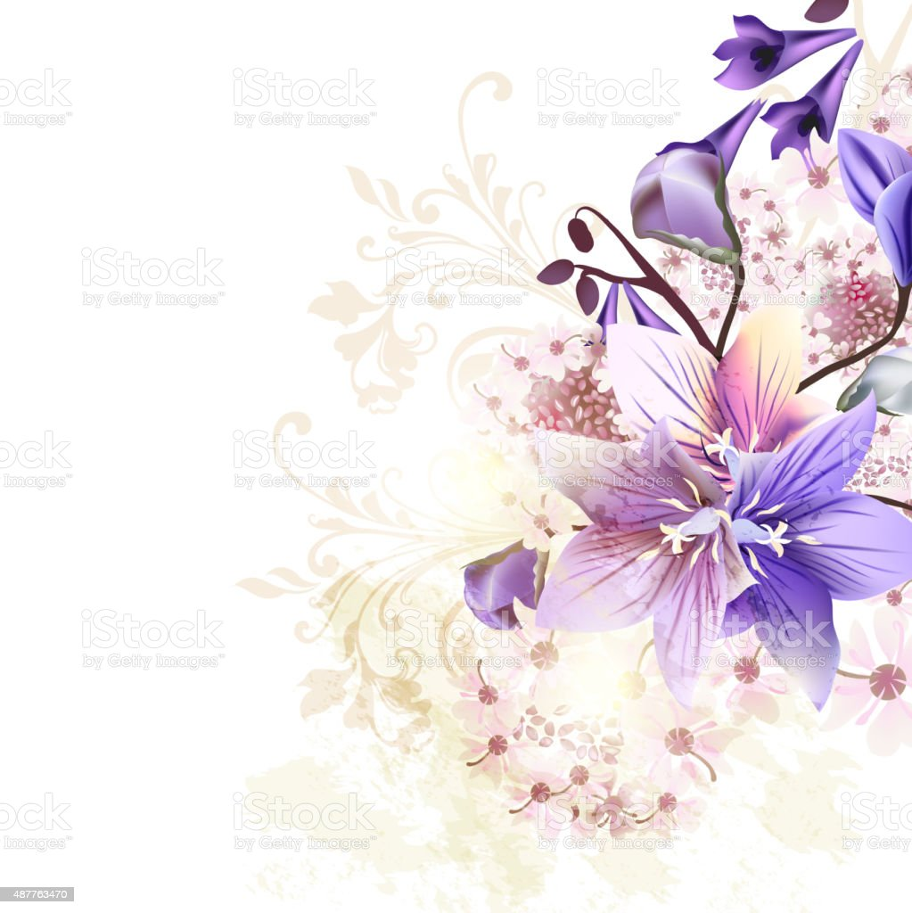 Grunge floral background with blue bells and some pink flowers vector art illustration