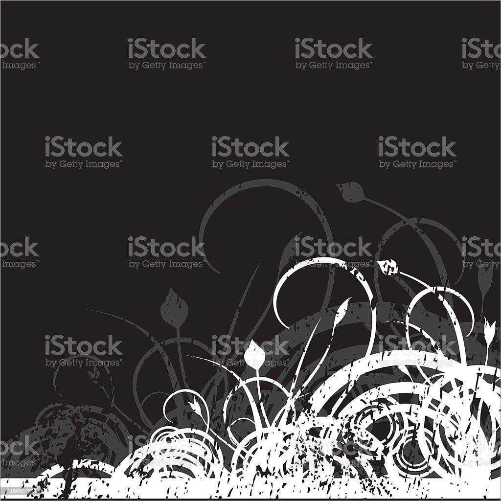 Grunge Floral Corner B&W royalty-free stock vector art