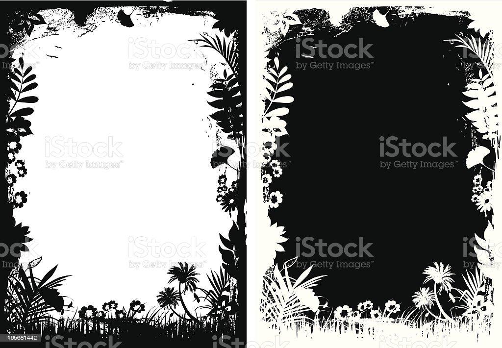 Grunge floral frame royalty-free stock vector art