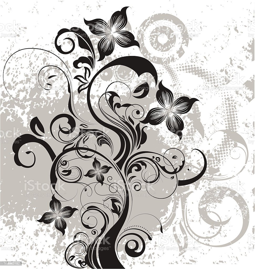 Grunge Floral royalty-free stock vector art