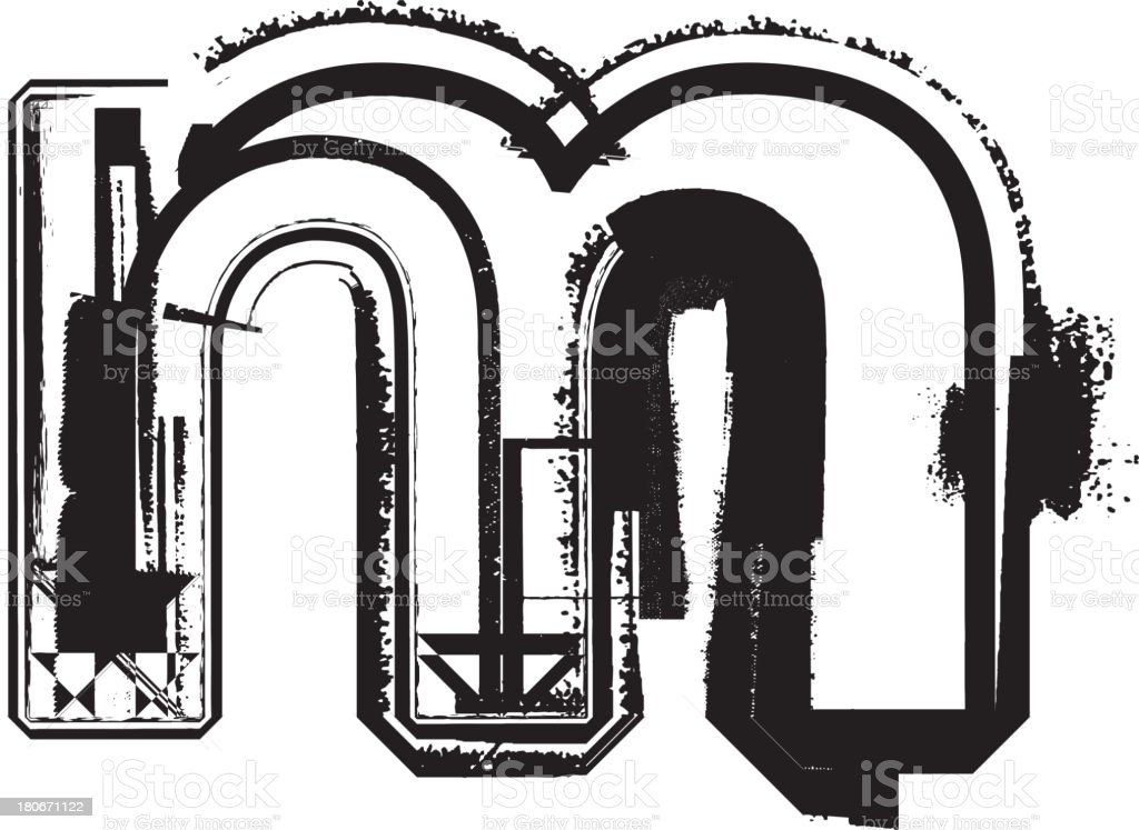 Grunge font. Letter m royalty-free stock vector art