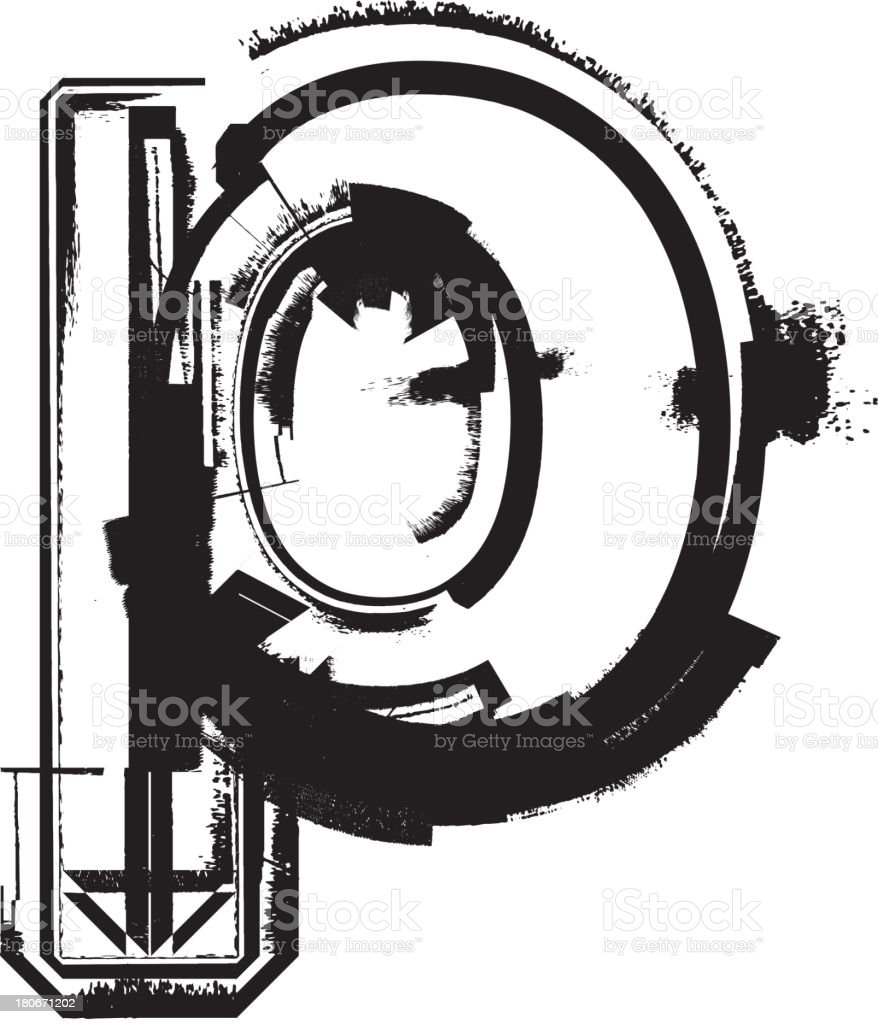 Grunge font. Letter p royalty-free stock vector art