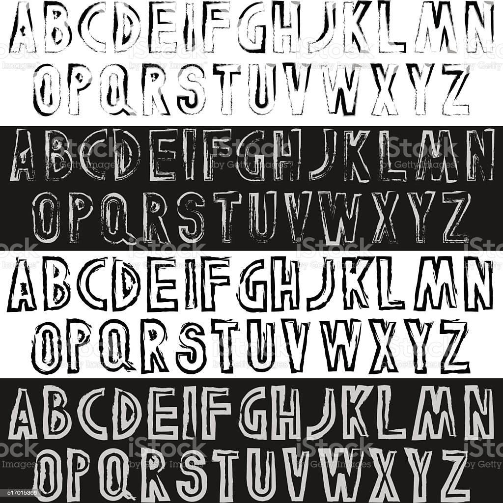Grunge font letters set vector art illustration