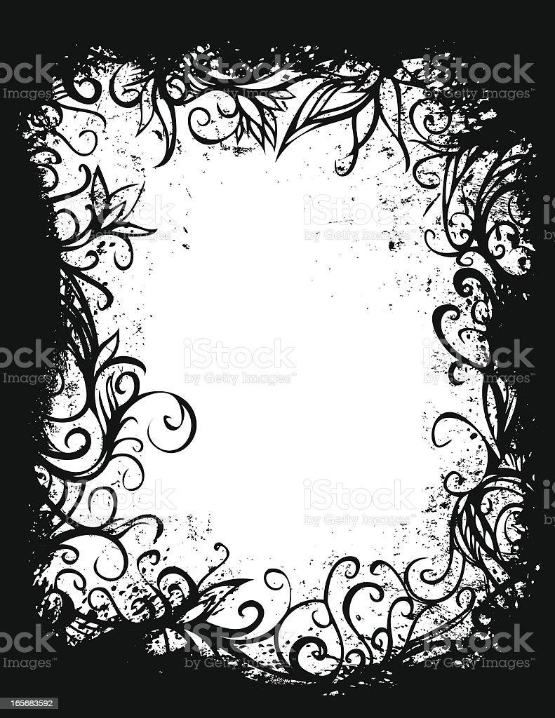 grunge forest frame vector art illustration
