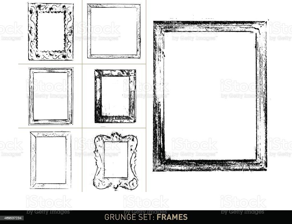 Grunge frame elements in b/w (Grunge set) vector art illustration