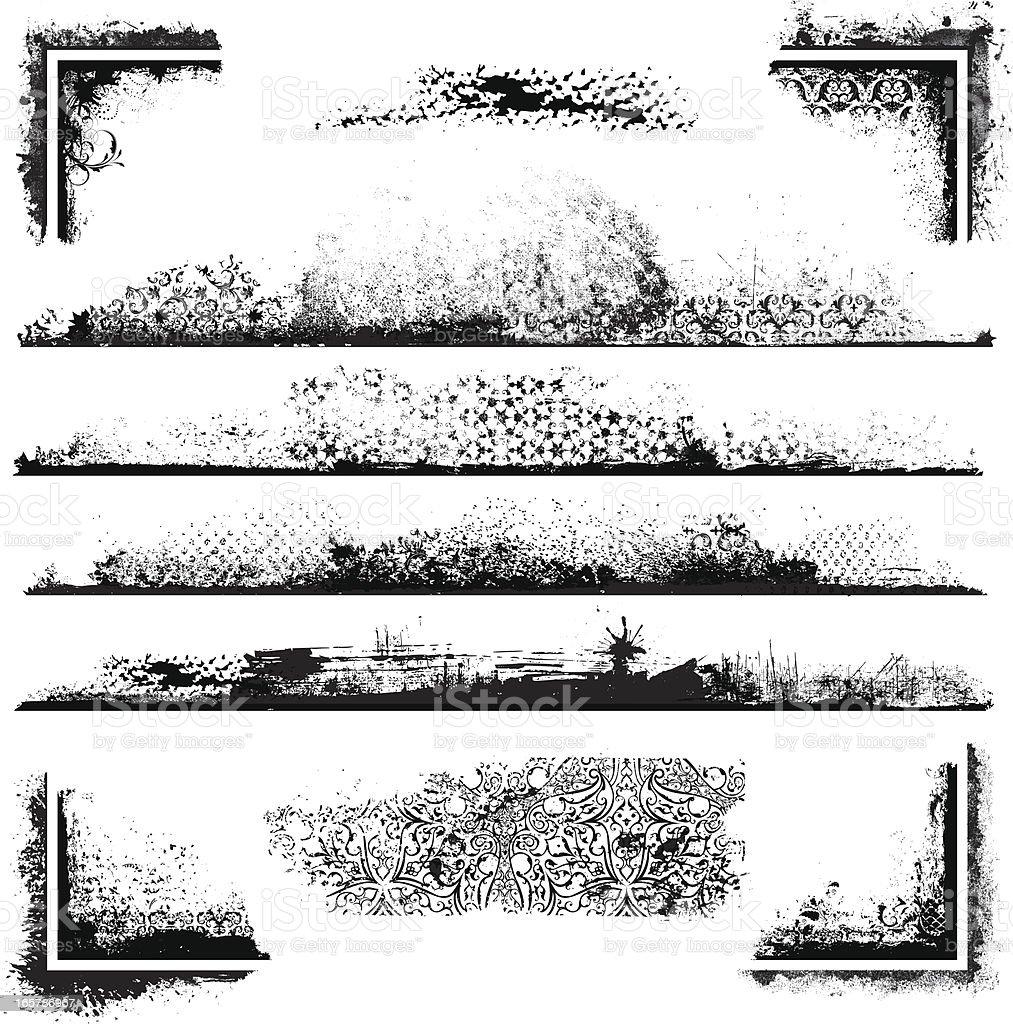 Grunge Frame Kit vector art illustration