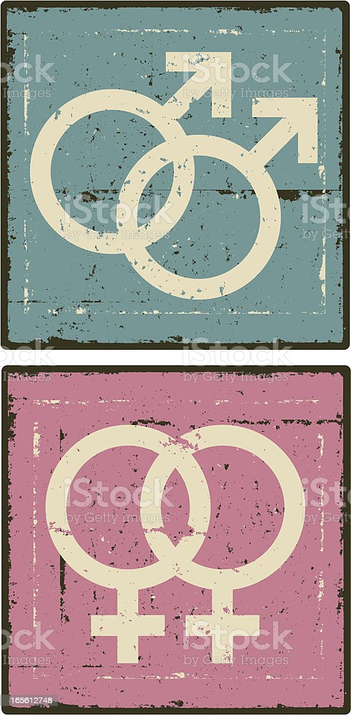Grunge Gay Gender Symbols royalty-free stock vector art