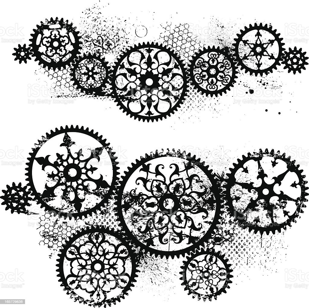 Grunge Gears vector art illustration