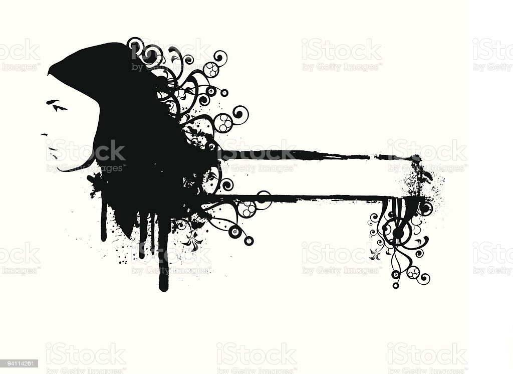 grunge glamour girl vector art illustration