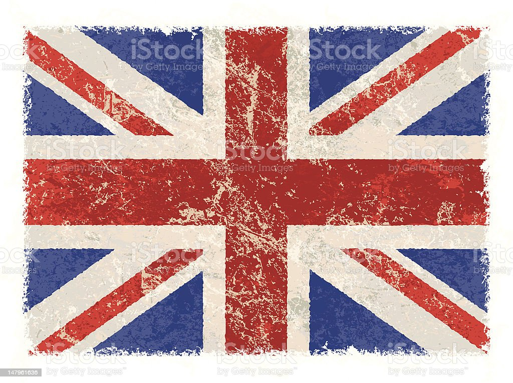 grunge great britain flag vector art illustration