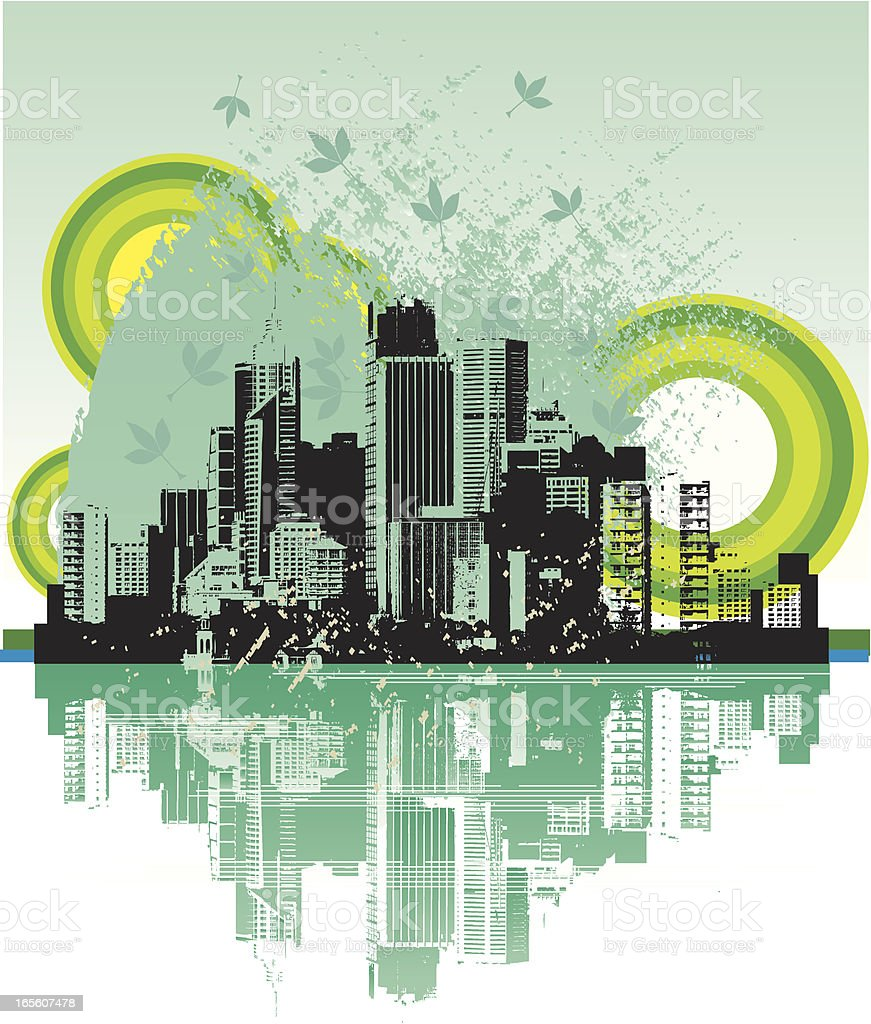 Grunge Green Cityscape royalty-free stock vector art