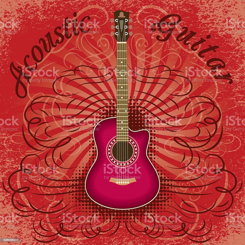 grunge guitar background for the cover, advertising or invitation vector art illustration