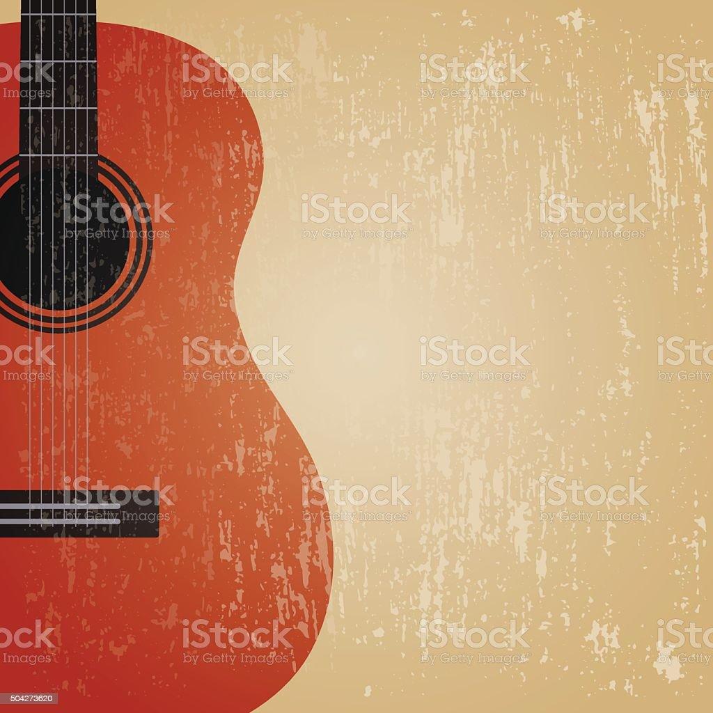 grunge guitar vector art illustration