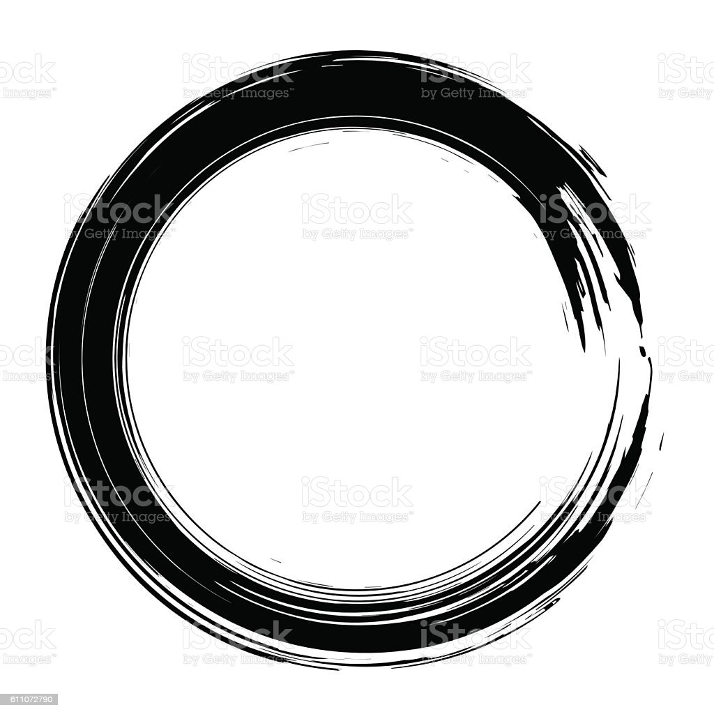 Grunge hand drawn black paintbrush circle shape. Curved brush st vector art illustration