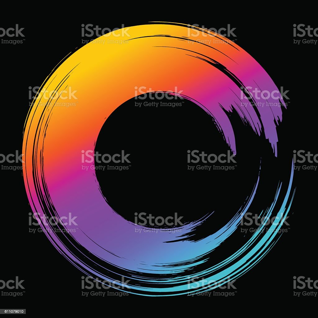 Grunge hand drawn color paintbrush circle. Curved brush stroke vector art illustration