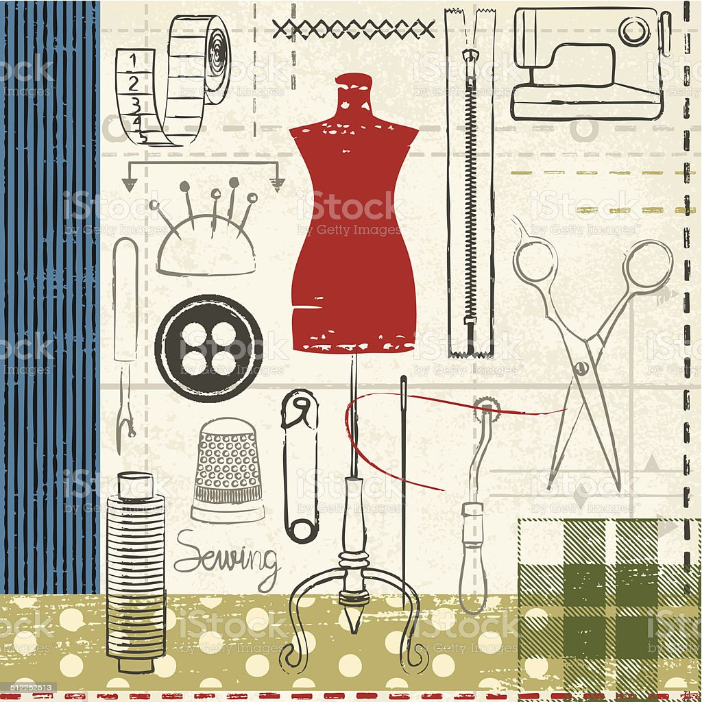 Grunge hand drawn sewing related poster vector art illustration