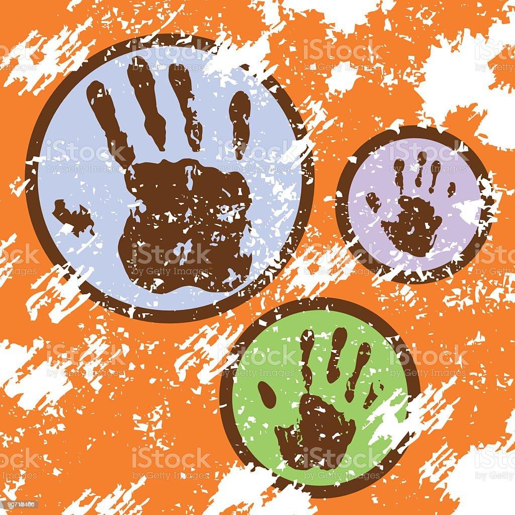 Grunge hand prints vector art illustration