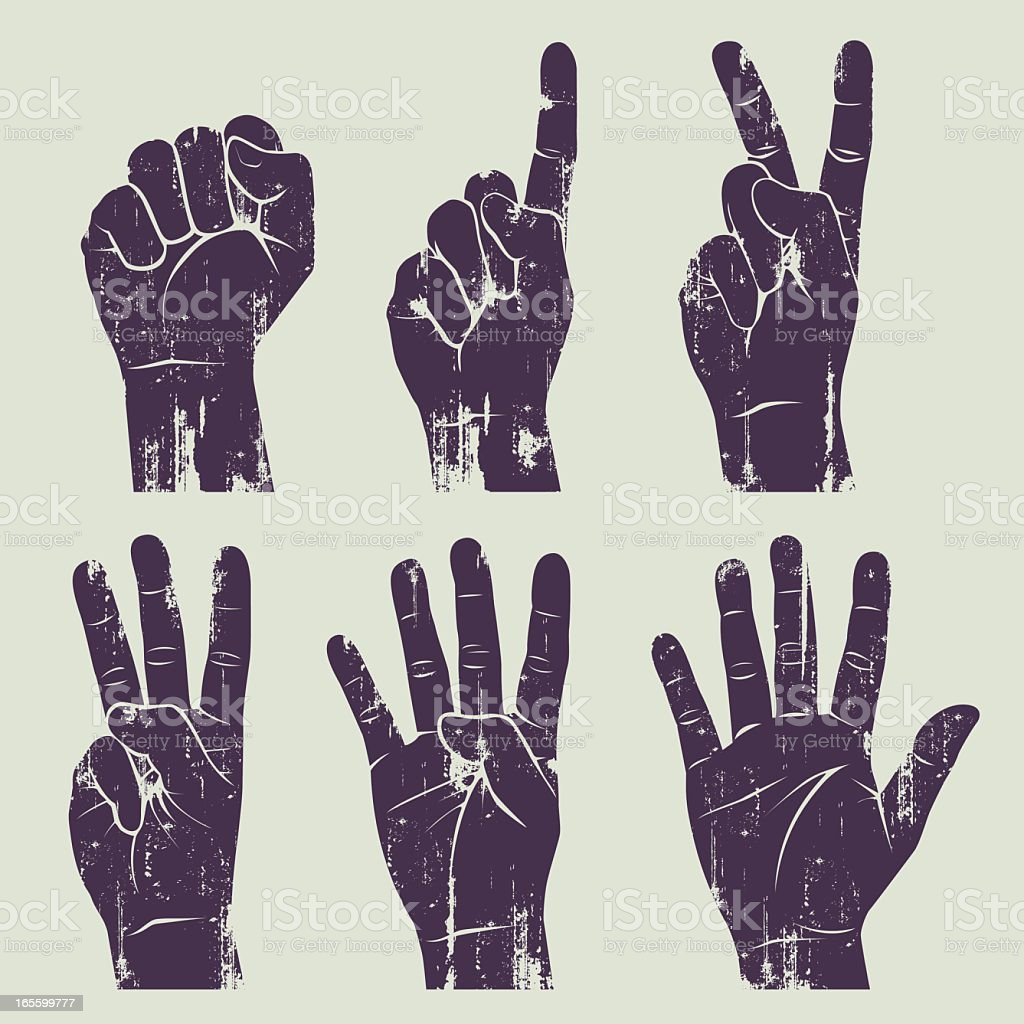 grunge hands vector art illustration