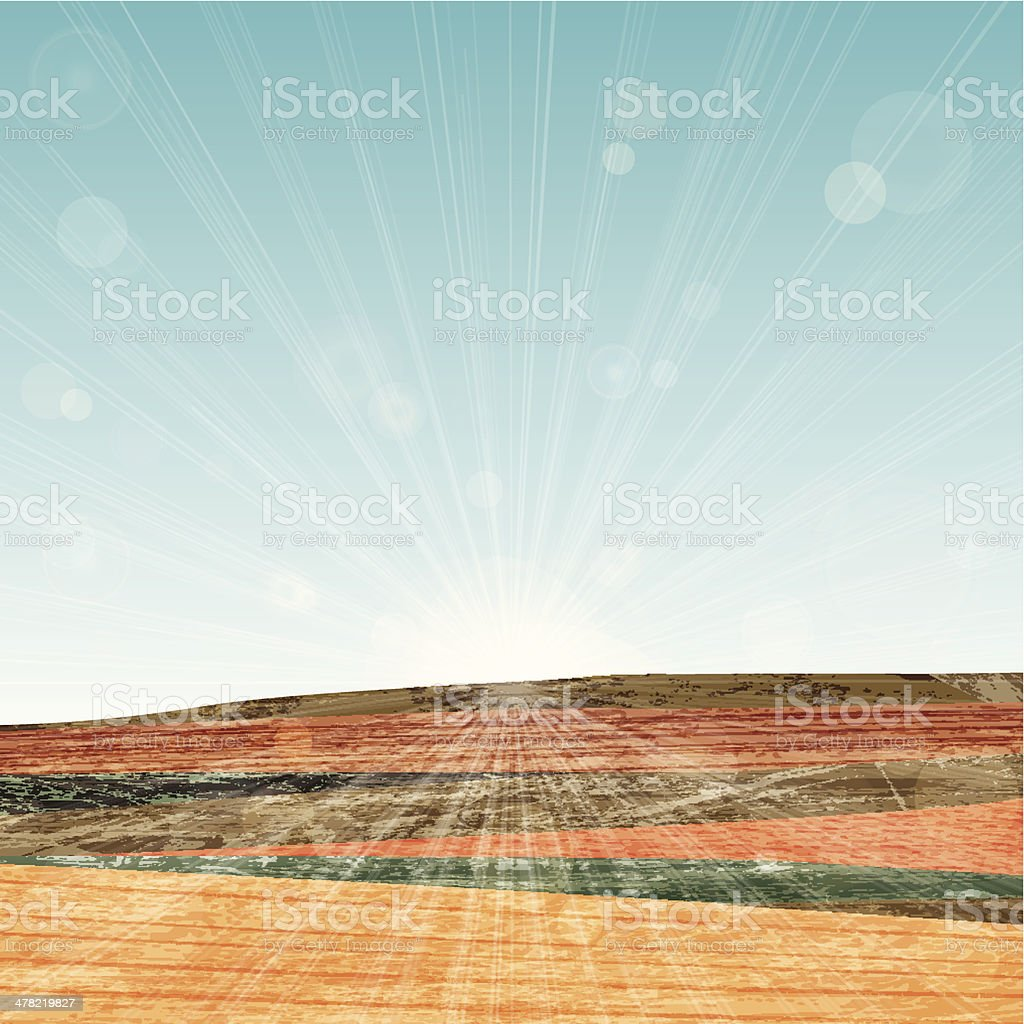 grunge hills with lens flare royalty-free stock vector art