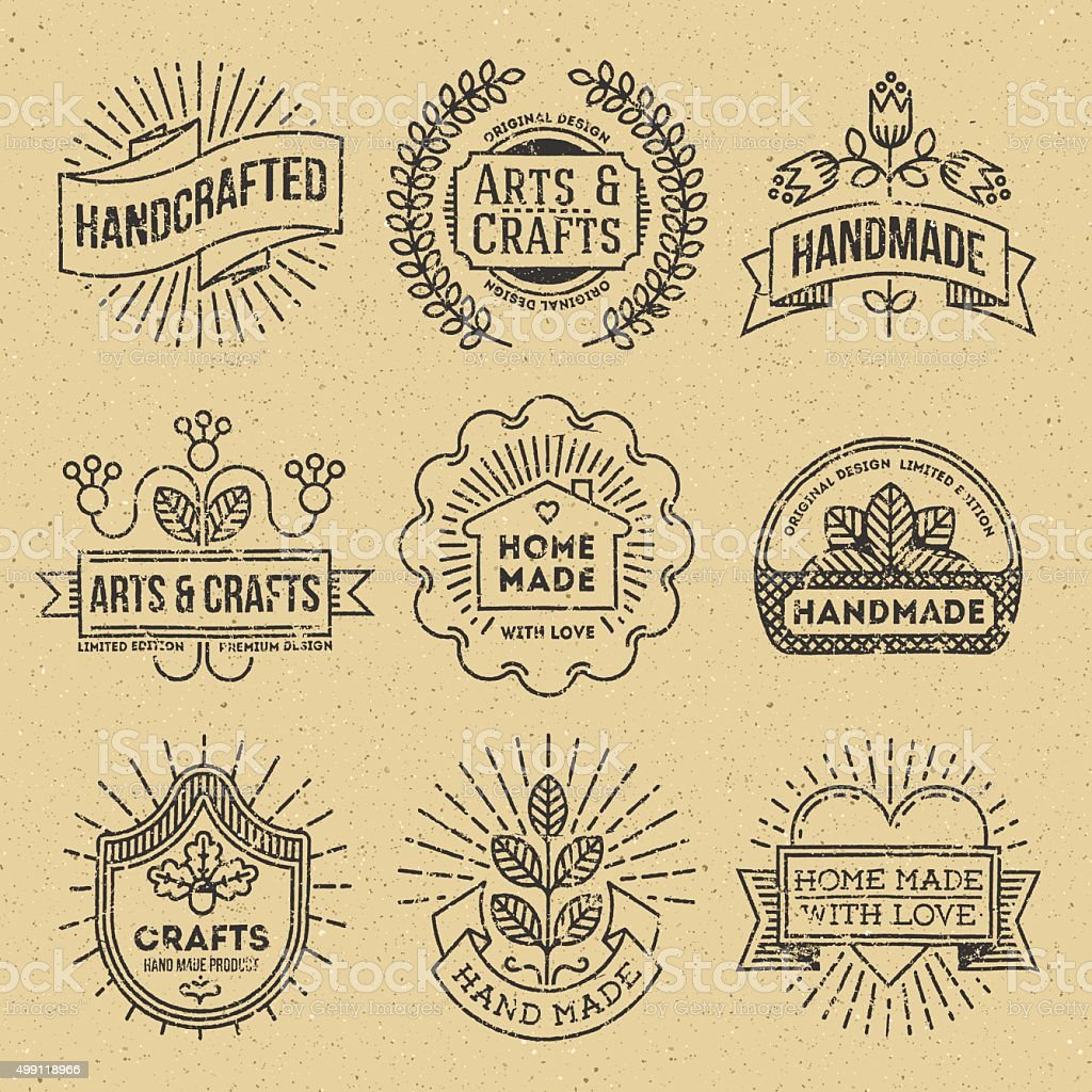 Grunge Hipster Retro Design Insignias Logotypes Set 12. vector art illustration