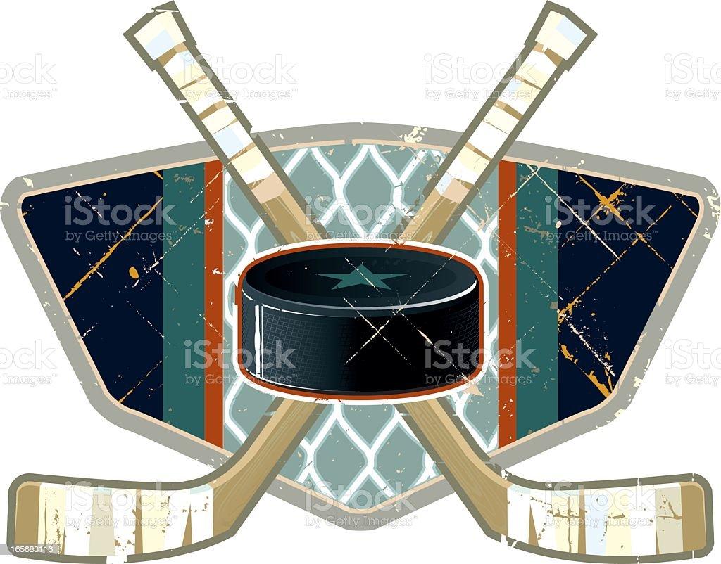 Grunge Hockey Sticks and Puck royalty-free stock vector art