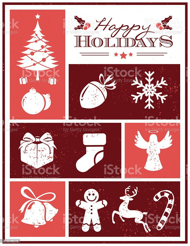 Grunge holiday seasons card vector art illustration