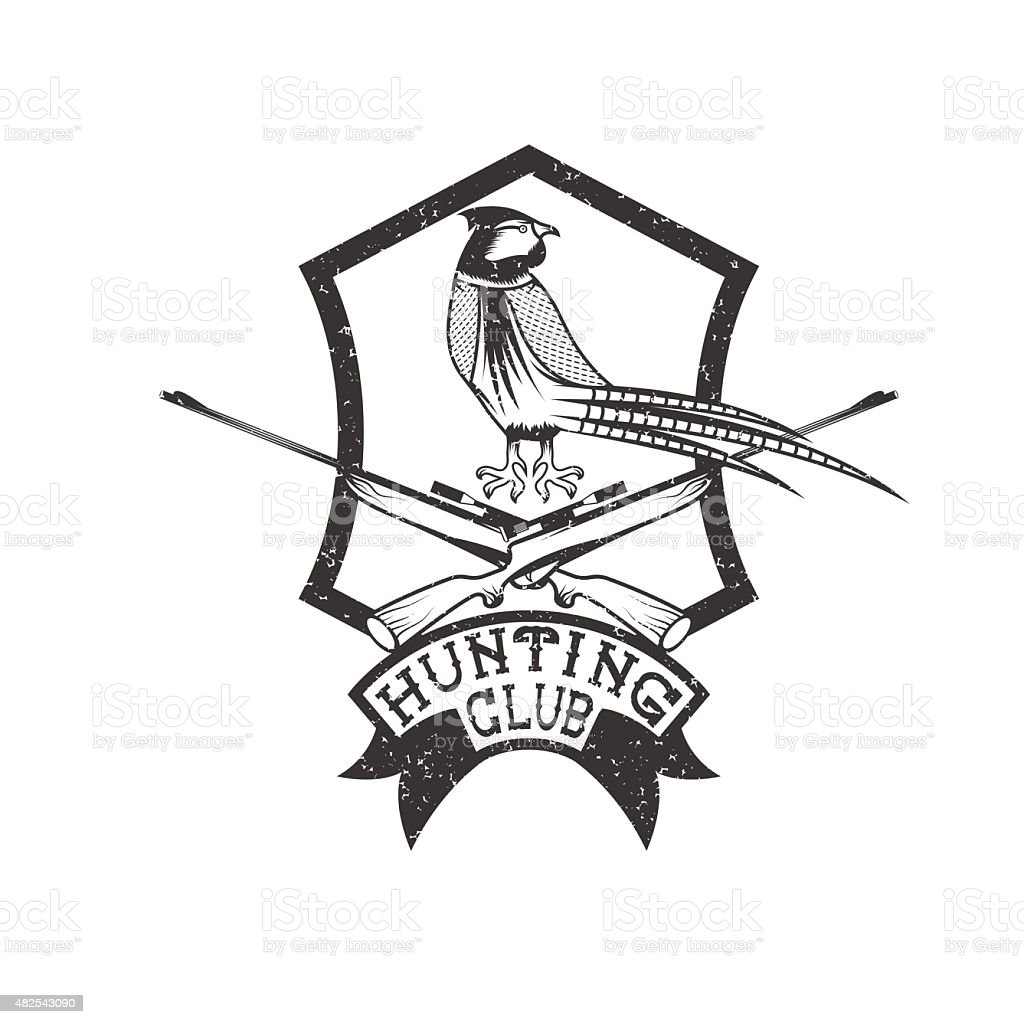 grunge hunting club crest with carbines and pheasant vector art illustration