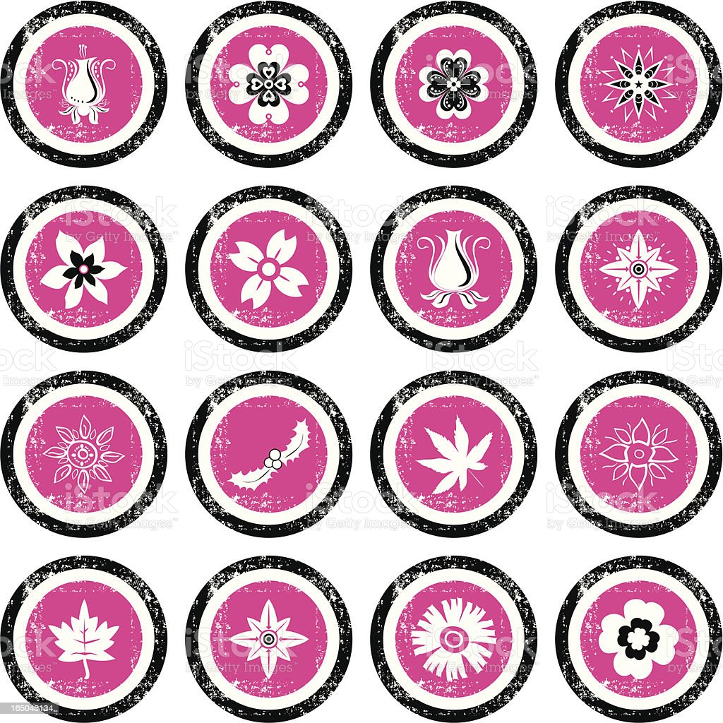 Grunge Icon Set - Flowers royalty-free stock vector art