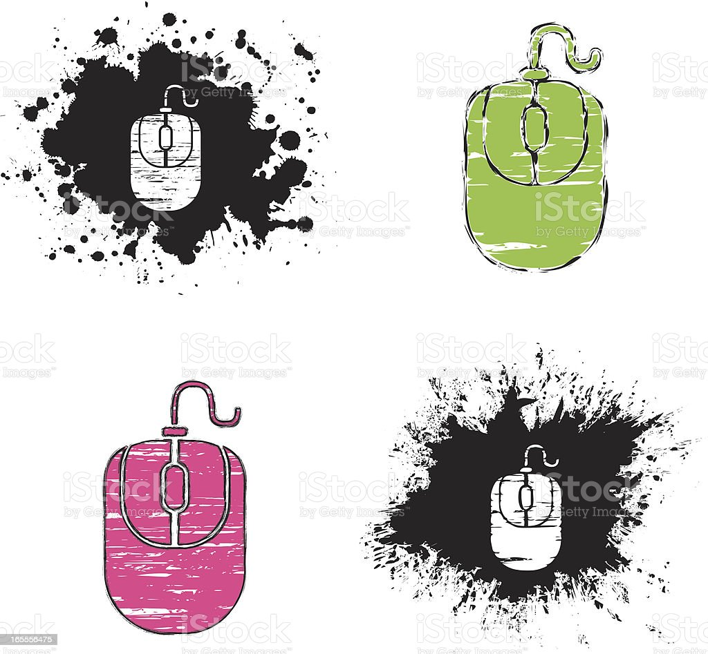 grunge icons - mouse royalty-free stock vector art