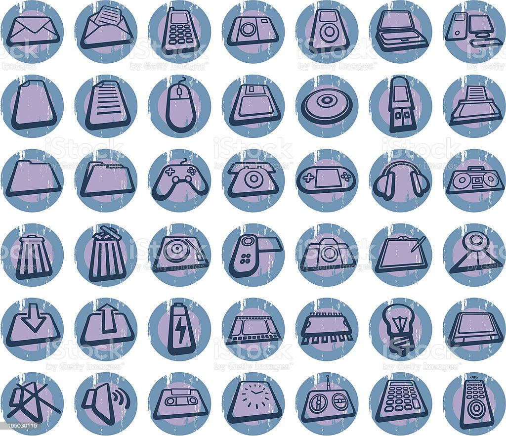 grunge icons set royalty-free stock vector art