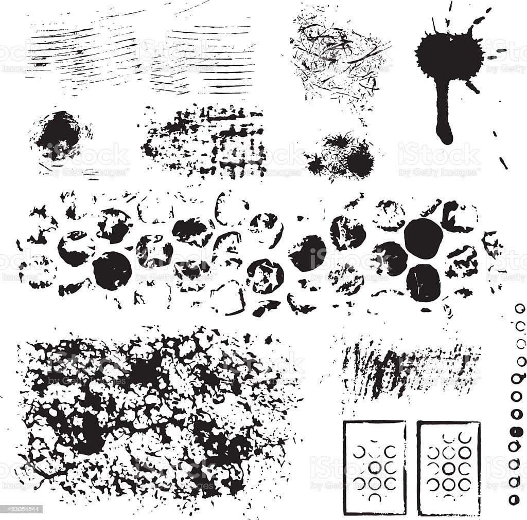 Grunge ink design set vector art illustration