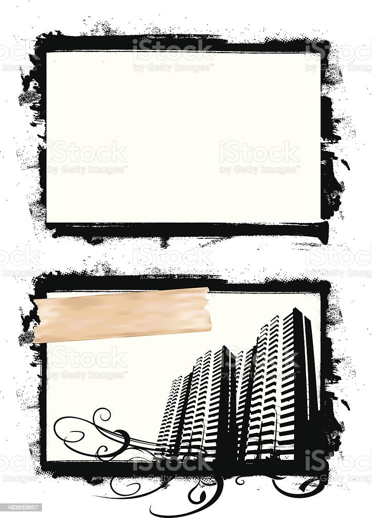 grunge ink paint frame with city royalty-free stock vector art